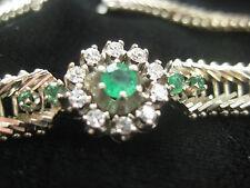 ARMBAND mit Smaragden und Brillanten 585 Weis Gold 0,66ct