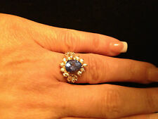 Ladies Ring Siberian Blue Ice Size 5 - Yellow Sterling Silver Women's Ring