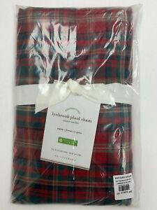 Pottery Barn Lynbrook Plaid Cotton Sham Euro Red Holiday Christmas NEW