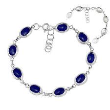 Classy Oval Blue Lapis & Shell Double Sided Sterling Silver Bracelet