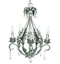 Kids Pewter Chandelier Light Fixture 5-Arm Bedroom Bathroom Room Decor Lighting