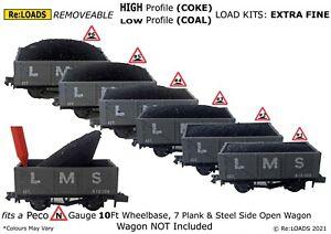 COAL / COKE 3-Part Load Kits, for N Gauge PECO 7 Plank & Steel Side Wagons