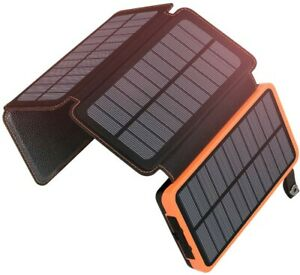 SOLAR POWERBANK 25000mAh ADDTOP Tragbares Akkupack mit 4 Solarpanels WASSERDICHT