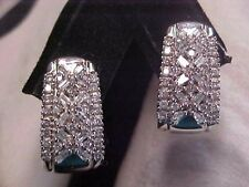 *VINTAGE*1.23ctw NATURAL BAGUETTE & ROUND CUT DIAMOND EARRINGS 10K WHITE GOLD