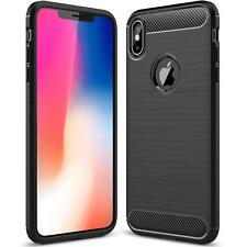 For iPhone XS Case Carbon Fibre & Full Glass Screen Protector