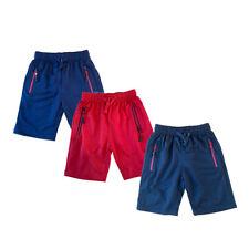 Boys Kids Shorts Fleece Zip Pocket Summer PE School Red Navy Black Cotton