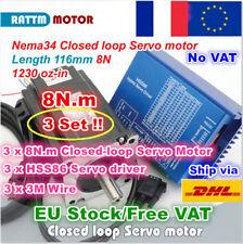 【FR】3 Sets 8N.m Nema34 116mm Hybrid CNC Closed Loop Servo Motor+HSS86 Driver Kit
