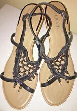 d311bf540 Mixit Womens Sz 8 Black Open Toe Wedge Heel Embellished Strappy Sandals