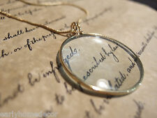 """1 3/4"""" Vintage Antique Style, Brass Magnifying Glass Pendant Necklace"""
