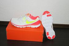 Nike Flex Damen Running Schuh Weiß Pink Gelb alle Größen Neu mit Karton
