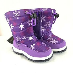 Fantiny Toddler Girls Winter Snow Boots Snowflake Faux Fur Lined Purple 24 US 8