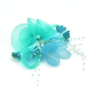 Women Headpieces Flower Hat Brooch Clip Bead Fascinator Bride Wedding Party Gift