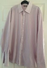 "Shirt.16"".pink.stripe.Jeff Banks.Top.quality. Suit. Trousers.Jeans. Double Cuff"