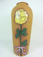 Vintage Pottery Vase Hand Painted Yellow Rose