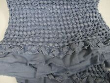 Inup Home Matelasse Shabby Cottage French Denim Blue Crochet Lace Ruffled Throw