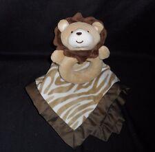 CARTER'S BABY BROWN ZEBRA LION RATTLE & SECURITY BLANKET STUFFED ANIMAL PLUSH