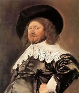 Oil painting frans hals - claes duyst van voorhout man portrait with black hat