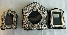 LOT (3) ENGLISH STERLING SILVER MINIATURE PICTURE FRAMES WITH GLASS