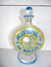 "Antique Art Deco ""Yellow,Blue,Clear"" Bohemian Cut Glass Doughnut Shaped Decanter"