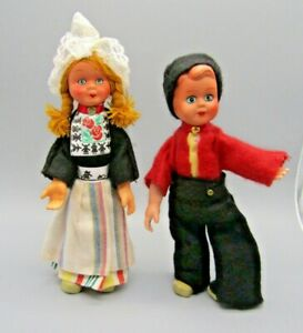Pair Vintage handmade and painted Wire joint Dolls, Northern European ceramic