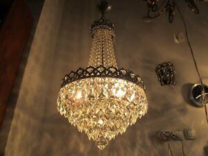 Antique Vnt French Basket Crystal Chandelier Lamp Light 1940's 14in Ø diamter