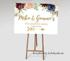 This way Sign - Wedding Sign Burgundy Blue Print Directions Engagement Carpark