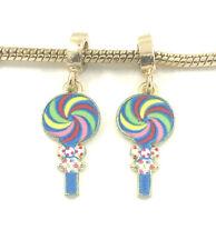 Fashion 2pcs Gold Lollipop European Charm Spacer Beads Fit Necklace Bracelet NEW