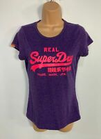 WOMENS SUPERDRY SIZE SMALL PURPLE LOGO PRINT SHORT SLEEVE CREW NECK T SHIRT TOP