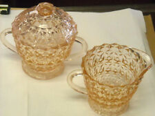 Depression Jeannette Glass Holiday Buttons & Bows Footed Creamer Sugar Bowl Lid