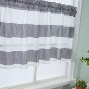 Gray Stripe Short Valance Rod Pocket Curtains Kitchen Window Treatment Decor
