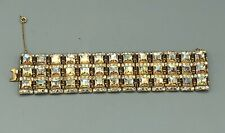 Vintage BOGOFF wide aurora and clear rhinestone bracelet