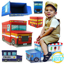 Toy Storage Box Container Seat Chair Stool Car Baby Clothes Book Organiser Bin