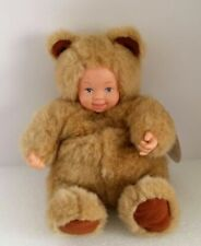 """Anne Geddes 1998 Baby Bears Plastic Doll Face Hands 8"""" Plush Stuffed Toy"""