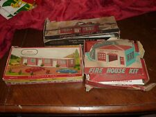 Lot of 3 Vintage Plasticville Model House Kits Motel/Fire House/School HO Scale