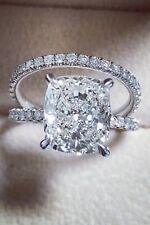 14K WG 1.90 Ct Cushion Cut Diamond Round Pave Engagement Ring Set F,VS2 GIA