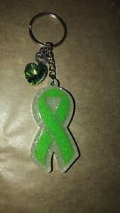 Mental Health Awareness / Green Ribbon Keychain / Awareness Keychain