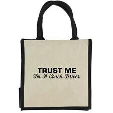 Trust Me i ' M a Coach Conducción Negro con Asas Midi Bolsa de Yute la Compra