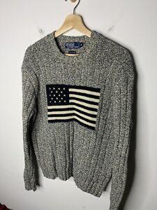 Polo Ralph Lauren Medium Grey Herringbone USA Flag Olympic Sweater Chunky Knit