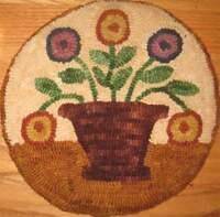 Beginner primitive rug hooking kit, hooked, posy pot, linen, wool
