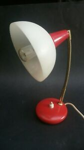 Vintage Retro Small Adjustable Desk Lamp Light Bendy Arm Cute Scarse Red 50s 60s