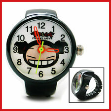 Pucca  Finger Ring Watch Cute Stainless Finger Clock  Black  *RARE*