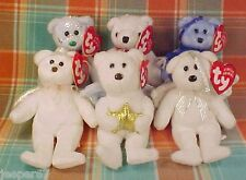 LOT OF SIX (6) TY JINGLE BEANIES ORNAMENTS, PLUSH HOLIDAY BEARS NEW WITH TAGS