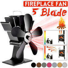 5 Blade Stove Fan Heat Powered Eco Friendly Log Wood Burner Top Fireplace UK