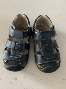 Pediped Sandals Size Eu 23 Uk Infant 6 -navy Blue. In Very Good Condition