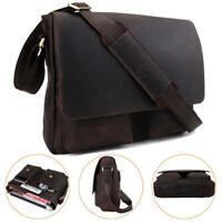 Men's Vintage Leather Work Shoulder Messenger Bag Travel Crossbody Sling Satchel
