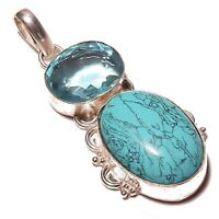 Pocketfriendly River Pearl and Mystic Quartz Handmade Jewelry Sterling Silver Plated Pendant 2 Long