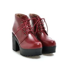 Womens Block High Heel Platform Ankle Boots Ladies Punk Lace up Casuals Shoes UK