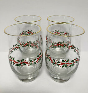 """4 Libbey HOLLY BERRY RIBBON 5 1/2"""" Tulip Glasses Tumblers Christmas"""