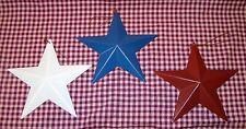 "s/3 one ea. Red White & Blue Tin Barn Stars Americana Patriotic 5.75"" across"