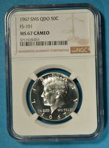 1967 SMS QDO Kennedy Half Dollar NGC MS67 CAMEO- NGC Top POP, Very Scarce